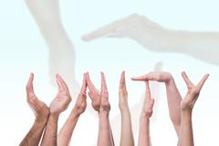 the word unity in front of hands - stock photo