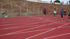 Sportsmen run on track. Starting line. Runners. Athletes. Games. Stock Footage