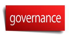 governance red square isolated paper sign on white - stock illustration