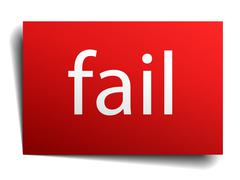 fail red square isolated paper sign on white - stock illustration
