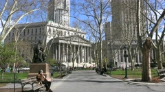 Thomas Paine park at the Foley Square. Stock Footage
