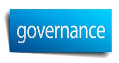 Stock Illustration of governance blue paper sign on white background