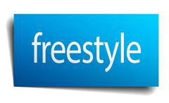 freestyle blue paper sign on white background - stock illustration