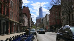 Freedom Tower as seen from the W Broadway street (SoHo district). Stock Footage