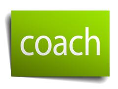 coach green paper sign on white background - stock illustration