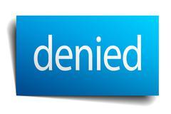 Denied blue paper sign on white background Stock Illustration