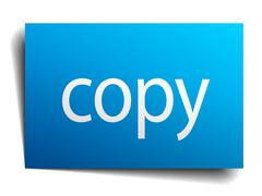 Stock Illustration of copy blue square isolated paper sign on white