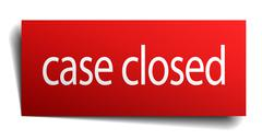 case closed red paper sign isolated on white - stock illustration
