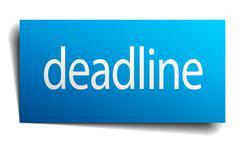 deadline blue square isolated paper sign on white - stock illustration