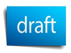 draft blue paper sign on white background - stock illustration