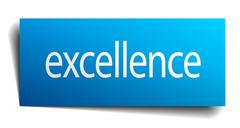 Excellence blue paper sign on white background Stock Illustration