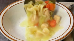 Chicken noodle soup Stock Footage