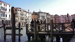 People waiting gondola in Venice Stock Footage