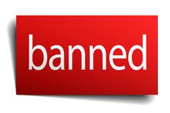 Banned red paper sign isolated on white Stock Illustration
