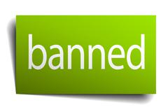 banned green paper sign on white background - stock illustration