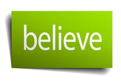 Stock Illustration of believe green paper sign on white background