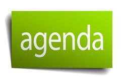 agenda green paper sign on white background - stock illustration