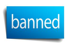 Banned blue square isolated paper sign on white Stock Illustration