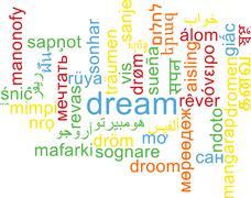 Stock Illustration of Dream multilanguage wordcloud background concept