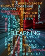Learning multilanguage wordcloud background concept glowing - stock illustration