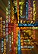 Numbness multilanguage wordcloud background concept glowing Stock Illustration