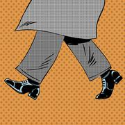 Male feet are shoes wind coat pop art comics retro style Halfton - stock illustration