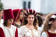 Young damadel Middle Ages at the Palio di Asti - stock photo