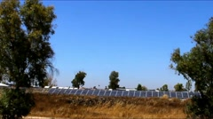 Solar panel produces green, environmentally friendly energy from the sun - stock footage