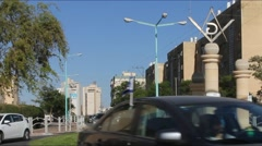 Masonic Square and surrounding streets in the capital of the Negev. Beer Sheva, Stock Footage