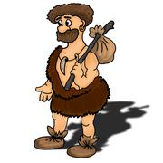 Ancient man vector illustration happy, humour, hunter - stock illustration