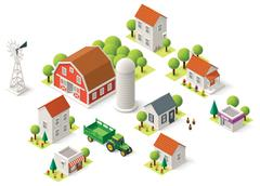 Vector isometric rural set Stock Illustration