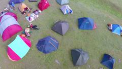 Ecological tourism festival,campsite.(aerial perspective) Stock Footage
