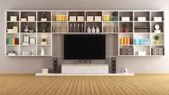 Modern lounge with bookcase and television - stock illustration