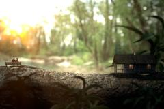 Living in a wooden house near a lake Stock Illustration