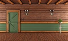 Empty Living room of a wooden house - stock illustration
