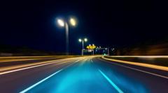HD drive pov modern highway timelapse/hyperlapse night Stock Footage