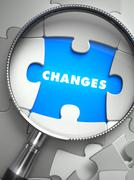 Changes - Puzzle with Missing Piece through Loupe Stock Illustration