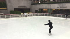 Low View Of The Rink At Rockefeller Center Stock Footage