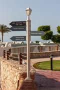 signboard on the beach at hotel, Egypt - stock photo