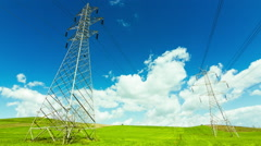 Electricity,high voltage pylons,power transmission lines - stock footage