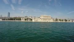 View from a boat on the Dolmabahce Palace Stock Footage