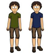 Boy in shorts illustration design, drawing, emotion Stock Illustration