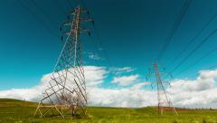 Electricity,high voltage pylons,power transmission lines Stock Footage