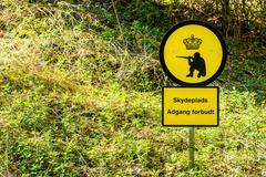 Shooting range sign in Denmark - stock photo