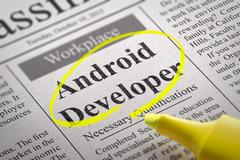 Stock Illustration of Android Developer Jobs in Newspaper