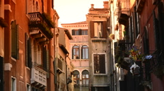 Buildings in Venice with windmill Stock Footage
