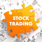 Stock Trading on Yellow Puzzle Stock Illustration