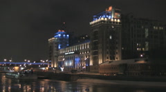 RUSSIA. MOSCOW. DECEMBER 2010: Theater Kremlin Embarkment. night Stock Footage