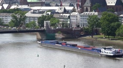ULTRA HD 4K Timelapse traffic street cargo ship Frankfurt landmark transport day Stock Footage