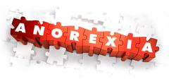 Stock Illustration of Anorexia - White Word on Red Puzzles